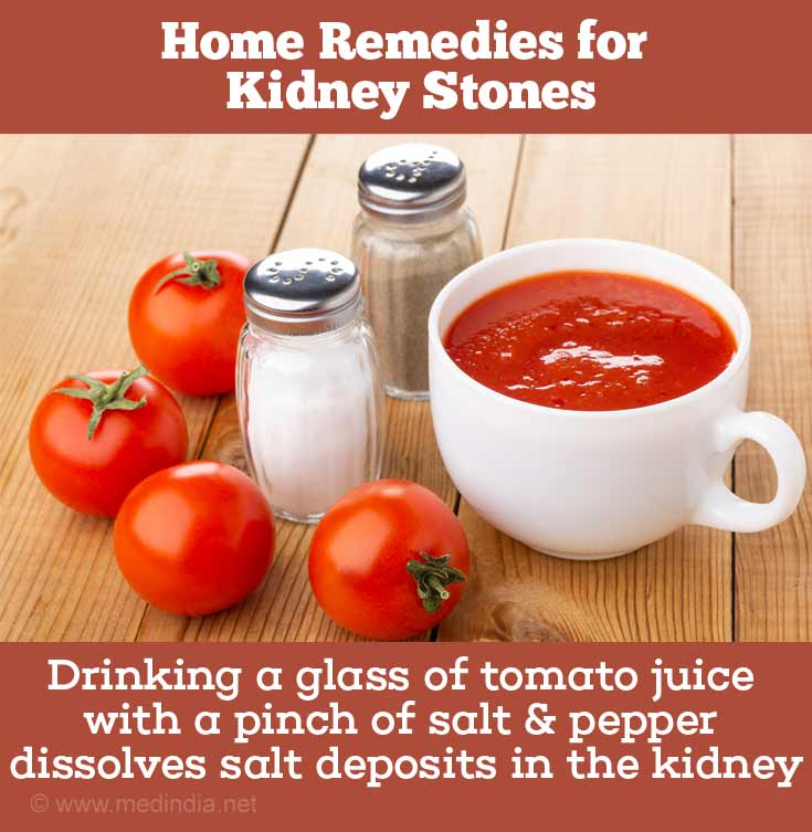 Tomato Juice, Salt, Pepper Dissolve Kidney Stones