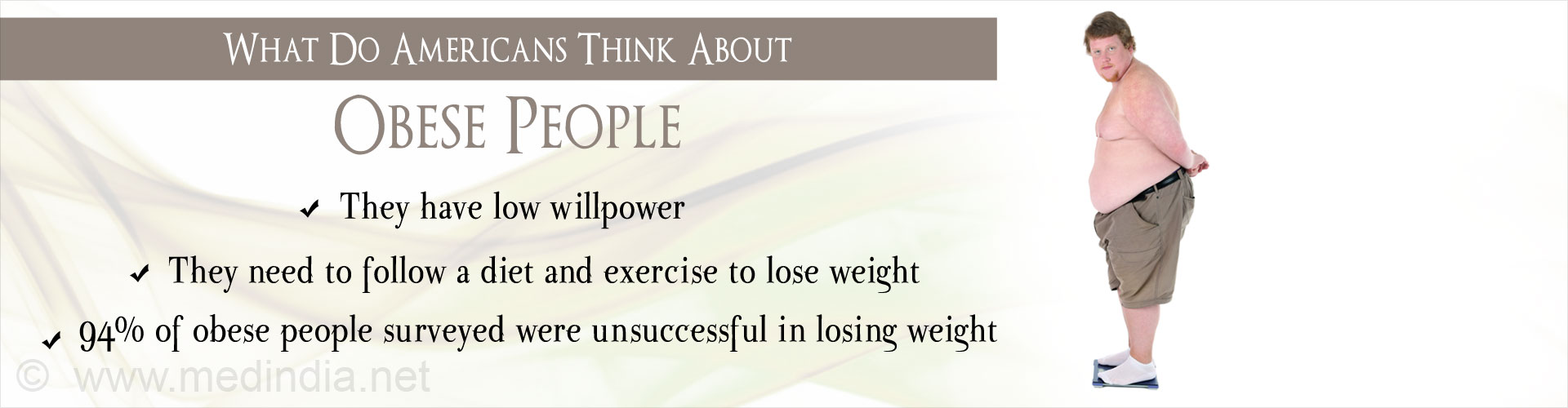 American Survey Finds People Blame Willpower for Obesity
