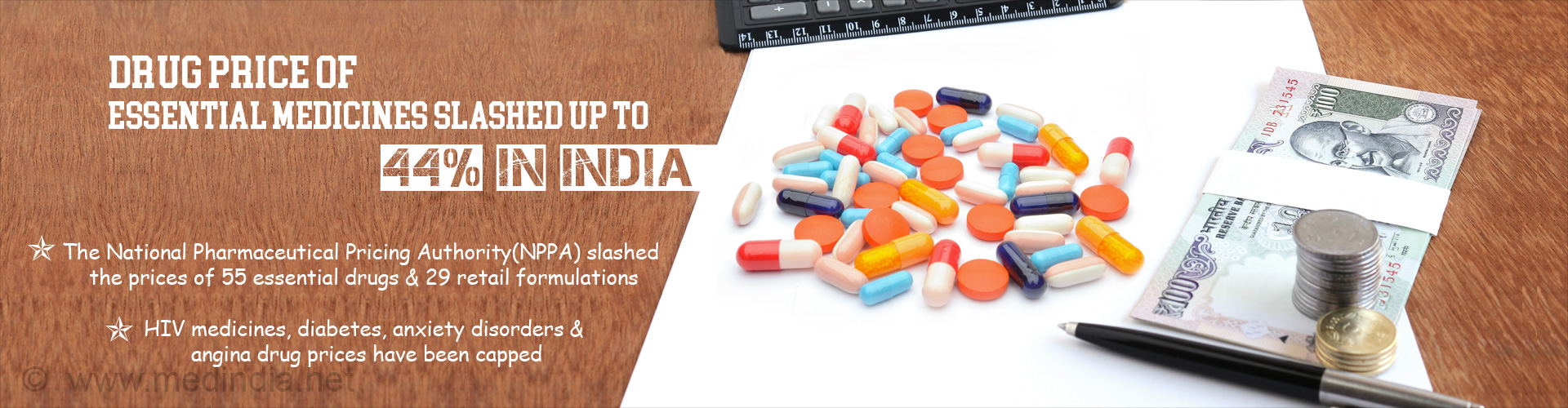 Essential Drugs Price Slashed By Up To 44% in India