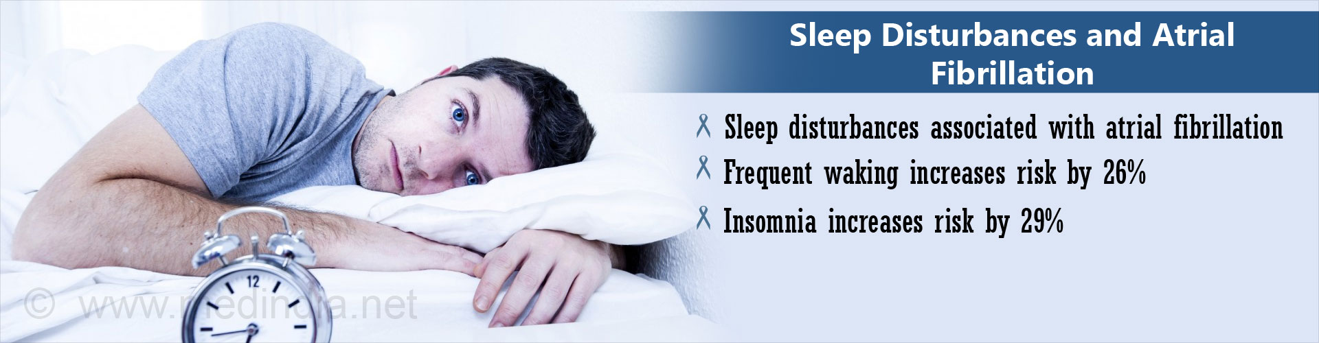 Insomnia & Sleep disturbances Increases the Risk of Rhythm Disorder of the heart called Atrial Fibrillation.