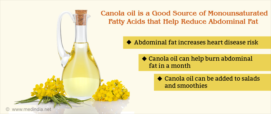 Canola Oil Helps Reduce Abdominal Fat in Four Weeks