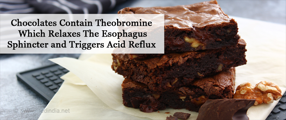 Chocolates Contain Theobromine Which Relaxes The Esophagus Sphincter and Triggers Acid Reflux