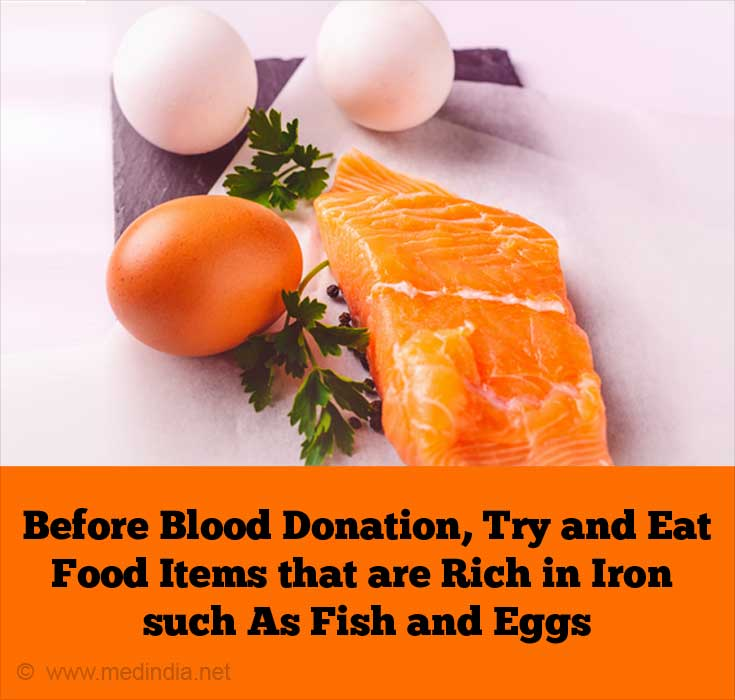 Before Blood Donation, Try and Eat Food Items that are Rich in Iron such As Fish and Eggs