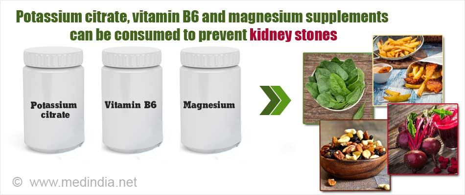 Potassium citrate, vitamin B6 and magnesium supplements can be consumed while by taking oxalate-containing foods