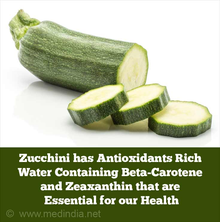 Zucchini has 95% Antioxidants Rich Water Containing Beta-Carotene and Zeaxanthin that are Essential for our Well Being
