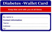 Diabetes Wallet Card