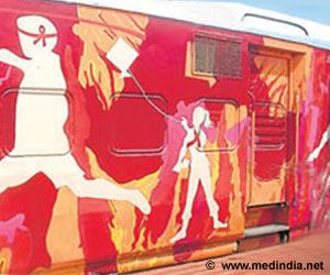 Red Ribbon Express Spills Awareness at Platform II