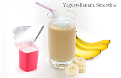 Use low-fat yogurt with one ripe banana, one tsp peanut butter and ...